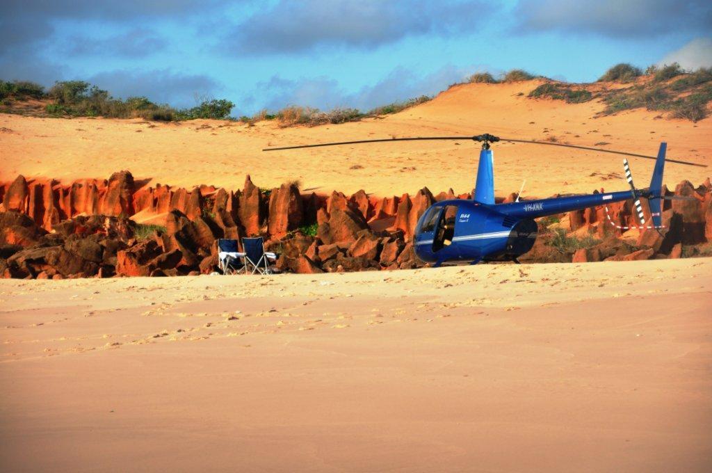 Chopper to a remote beach in broome